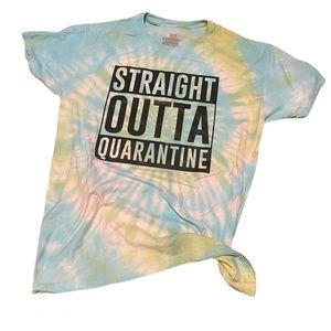 Tie dye funny quarantine graphic shirt M